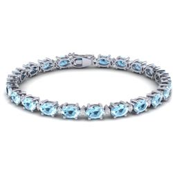 21.2 CTW Aquamarine & VS/SI Certified Diamond Eternity Bracelet 10K White Gold - REF-263M6H - 29444