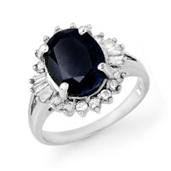5.47 CTW Blue Sapphire & Diamond Ring 18K White Gold - REF-90K9W - 13297