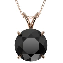 2.50 CTW Fancy Black VS Diamond Solitaire Necklace 10K Rose Gold - REF-55H5A - 33244