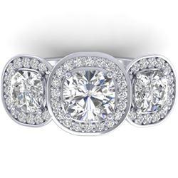 2.7 CTW Cushion Cut Certified VS/SI Diamond Art Deco 3 Stone Ring 14K White Gold - REF-592F8N - 3034