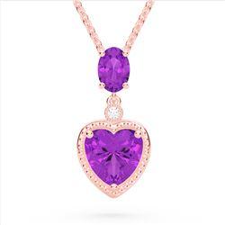 4 CTW Amethyst & VS/SI Diamond Designer Heart Necklace 10K Rose Gold - REF-26H2A - 22518