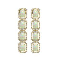 7.93 CTW Opal & Diamond Halo Earrings 10K Yellow Gold - REF-162X2T - 41443
