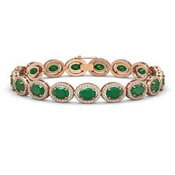 22.89 CTW Emerald & Diamond Halo Bracelet 10K Rose Gold - REF-291H5A - 40602