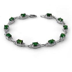 6.10 CTW Emerald Bracelet 14K White Gold - REF-72A8X - 13800
