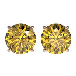 2.57 CTW Certified Intense Yellow SI Diamond Solitaire Stud Earrings 10K Rose Gold - REF-427A5X - 36