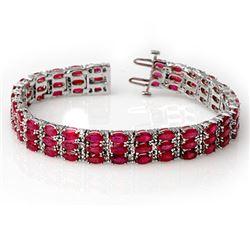 30.26 CTW Ruby & Diamond Bracelet 14K White Gold - REF-391K3W - 11546