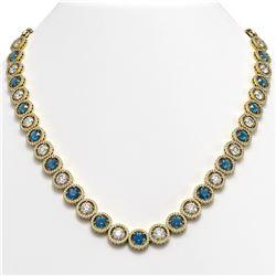 35.60 CTW Blue & White Diamond Designer Necklace 18K Yellow Gold - REF-4403A6X - 42679