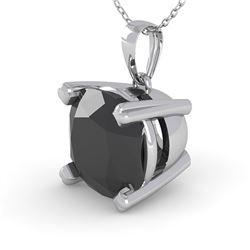 3 CTW Cushion Black Diamond Designer Necklace 18K White Gold - REF-89T8M - 32376