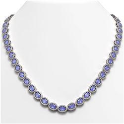 31.96 CTW Tanzanite & Diamond Halo Necklace 10K White Gold - REF-604A2X - 40409