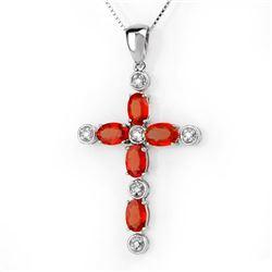 3.15 CTW Orange Sapphire & Diamond Necklace 10K White Gold - REF-34N2Y - 10452