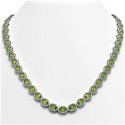 31.1 CTW Peridot & Diamond Halo Necklace 10K White Gold - REF-554Y8K - 40427
