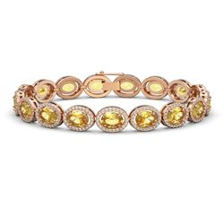 20.36 CTW Fancy Citrine & Diamond Halo Bracelet 10K Rose Gold - REF-246T8M - 40644
