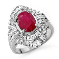 4.58 CTW Ruby & Diamond Ring 18K White Gold - REF-140N2Y - 13089