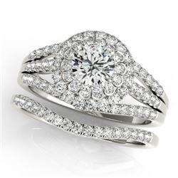 1.41 CTW Certified VS/SI Diamond 2Pc Wedding Set Solitaire Halo 14K White Gold - REF-157W6F - 30981