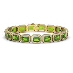 25.41 CTW Peridot & Diamond Halo Bracelet 10K Yellow Gold - REF-365N8Y - 41407