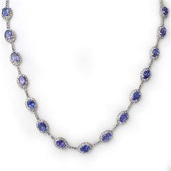 25.0 CTW Tanzanite & Diamond Necklace 10K White Gold - REF-250N5Y - 10268