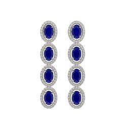 6.47 CTW Sapphire & Diamond Halo Earrings 10K White Gold - REF-109W5F - 40508