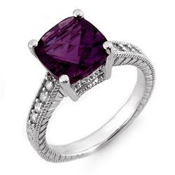 3.75 CTW Amethyst & Diamond Antique Ring 18K White Gold - REF-63A6X - 10604