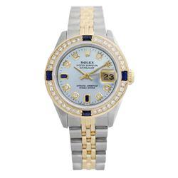 Rolex Ladies Two Tone 14K Gold/SS, Diam/Sapphire Dial & Diam Bezel, Sapphire Crystal - REF-440A7N