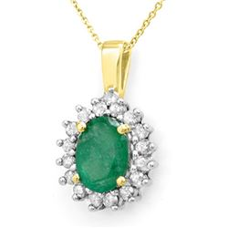 3.50 CTW Emerald & Diamond Necklace 14K Yellow Gold - REF-58Y2K - 13718