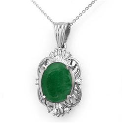 5.88 CTW Emerald & Diamond Pendant 18K White Gold - REF-79A6X - 13109