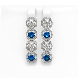 6.25 CTW Blue & White Diamond Designer Earrings 18K White Gold - REF-782H4A - 42683