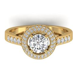 1.45 CTW Certified VS/SI Diamond Art Deco Micro Halo Ring 14K Yellow Gold - REF-217M3H - 30488