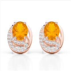 2.50 Citrine & Micro Pave VS/SI Diamond Stud Earrings 10K Rose Gold - REF-25M6H - 22328