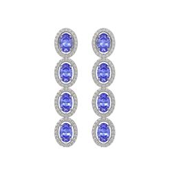 6.09 CTW Tanzanite & Diamond Halo Earrings 10K White Gold - REF-122W2F - 40511