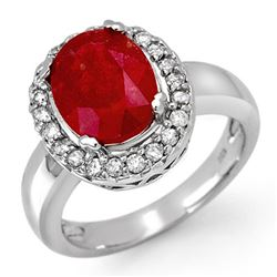 4.65 CTW Ruby & Diamond Ring 10K White Gold - REF-52W2F - 11905