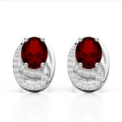 2.50 Garnet & Micro Pave VS/SI Diamond Stud Earrings 10K White Gold - REF-25T6M - 22334