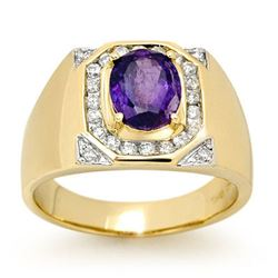 3.10 CTW Tanzanite & Diamond Men's Ring 14K Yellow Gold - REF-119N5Y - 13480