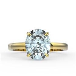 3.50 CTW Sky Blue Topaz Designer Inspired Solitaire Ring 18K Yellow Gold - REF-36F2N - 22087