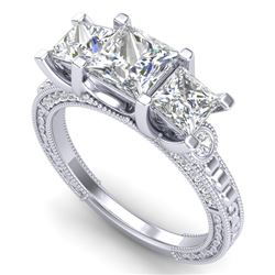 2.66 CTW Princess VS/SI Diamond Art Deco 3 Stone Ring 18K White Gold - REF-581F8N - 37157