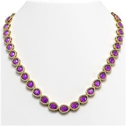 35.13 CTW Amethyst & Diamond Halo Necklace 10K Yellow Gold - REF-586M9H - 41083