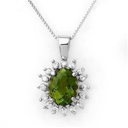3.55 CTW Green Tourmaline & Diamond Necklace 18K White Gold - REF-98A5X - 10797