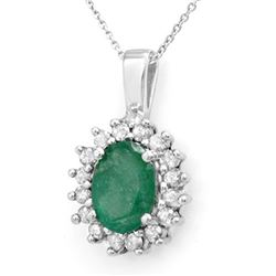 3.48 CTW Emerald & Diamond Pendant 14K White Gold - REF-47H6A - 14015