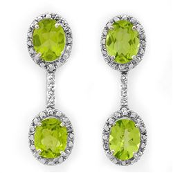 8.10 CTW Peridot & Diamond Earrings 14K White Gold - REF-80A5X - 10312
