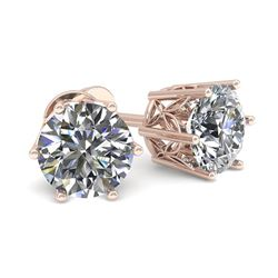 0.50 CTW Certified VS/SI Diamond Stud Solitaire Earrings 18K Rose Gold - REF-58A2X - 35813
