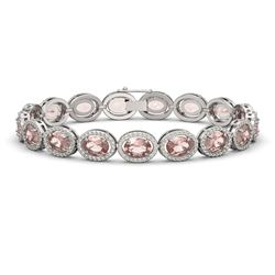 20.18 CTW Morganite & Diamond Halo Bracelet 10K White Gold - REF-377M3H - 40613