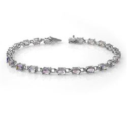 5.0 CTW Tanzanite Bracelet 14K White Gold - REF-71N5Y - 13456