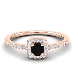 0.55 CTW Micro Pave VS/SI Diamond Ring Designer Halo 14K Rose Gold - REF-29N3Y - 21369