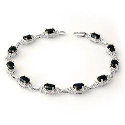 7.33 CTW Blue Sapphire Bracelet 14K White Gold - REF-63W6F - 14264