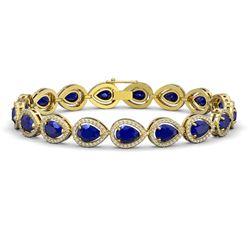 21.69 CTW Sapphire & Diamond Halo Bracelet 10K Yellow Gold - REF-315K5W - 41098