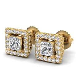 2.25 CTW Princess VS/SI Diamond Micro Pave Stud Earrings 18K Yellow Gold - REF-272F8N - 37171