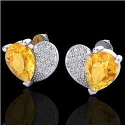 2.50 CTW Citrine & Micro Pave VS/SI Diamond Earrings 10K White Gold - REF-30M2H - 20070