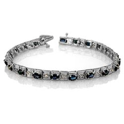 6.09 CTW Blue Sapphire & Diamond Bracelet 14K White Gold - REF-105F5N - 10019