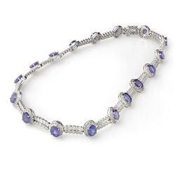45.0 CTW Tanzanite & Diamond Necklace 18K White Gold - REF-1188W5F - 11763