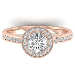 1.1 CTW Certified VS/SI Diamond Solitaire Micro Halo Ring 14K Rose Gold - REF-188Y5K - 30352