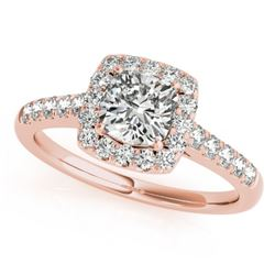 1.16 CTW Certified VS/SI Cushion Diamond Solitaire Halo Ring 18K Rose Gold - REF-216H4A - 27124